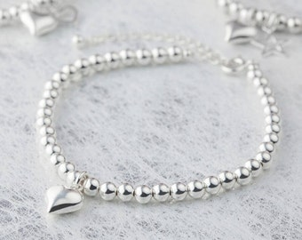 Sterling Silver bead bracelet with silver heart charm