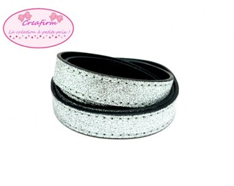 1 m leather flat silver spangled 15x2mm