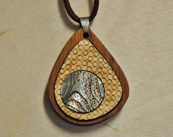 Abalone in Maple & Teak Wood Pendant