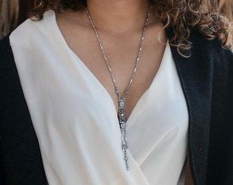 Silver Wedding Necklace, Bridal Y Necklace, 1920s Wedding Jewelry, Long Bridal Necklace, Crystal Wedding Necklace, Bridesmaid Jewelry N1445