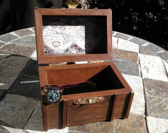 Pirate treasure chest, Steampunk Steamer Trunk,  Ring Bearer Box, Cufflink box, Fathers Day Gift, Box and ring gift set