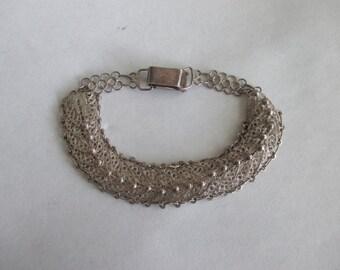 Vintage 925 STERLING SILVER Ornate Filigree Lace link Bracelet