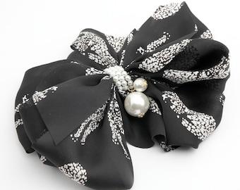Handmade Multi WIng Chiffon Scarf  Bow French Barrette Hair Clip