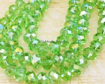 30 Spring Green Crystal AB Rondelles 6X9MM
