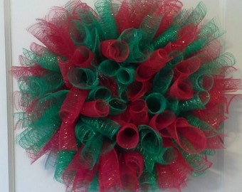Christmas Holiday Red and Green Deco Mesh Wreath