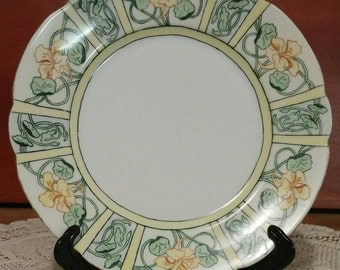 Reduced..Art Nouveau porcelain decorative plate signed Marion C.  Canadian  Quebec artist. Late 1800s. CT Germany hand painted blank.