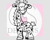 Cute Giraffe SVG - Outline Only