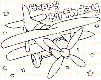 Plane Birthday Coloring Page Printable Airplane Party Supplies Colouring Sheet Idea Theme Fun