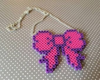 Pink and Purple Bow Necklace Perler Bead *Free Shipping*
