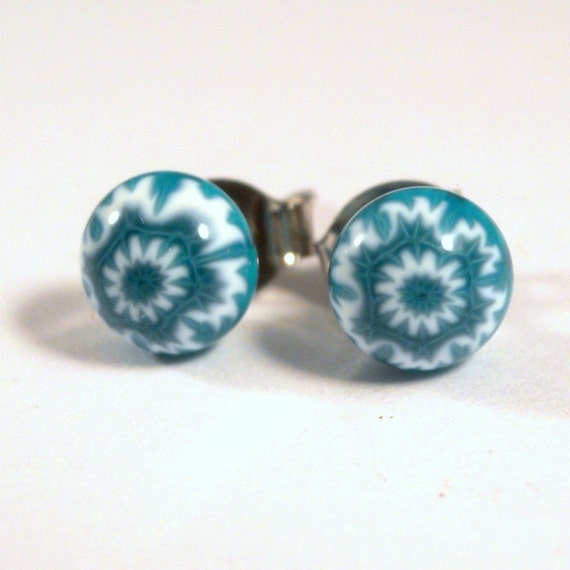 Blue and White Snowflake Stud Earrings, Sterling Silver Posts, Fused Glass