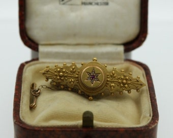 Victorian Ruby and Diamond brooch - dated 1901 (SKU519)