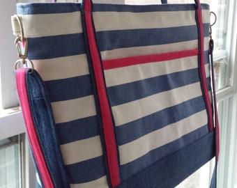 nautical tote bag..diaper bag..beach bag