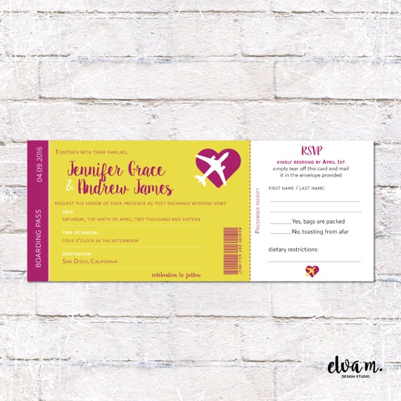 Boarding Pass Wedding Invitation With Tear Off RSVP