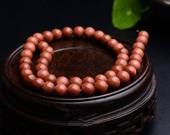 Natural Round Gold sand Beads, One Full Strand 4 6 8 10 12 14 16mm Gemstone Beads, Loose Stone Beads,E200