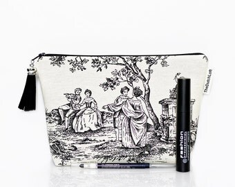 Toile makeup bag, Cosmetic case, Toile de jouy, French pouch, Zipper pouch, Black white, Back to school, Gadget pouch, Make Up bag, Wash bag