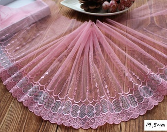 2 Yards Lace Trim Floral Embroidered Pink with silver Tulle Lace 7.67 Inches Wide High Quality YL396