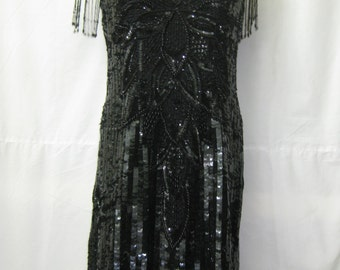 Short Black Sequin Dress #224