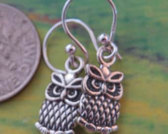 Jewelry OWL Sterling silver Earrings. French Wire.
