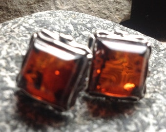 Amber Sterling Silver Square Post Earrings. Vintage.