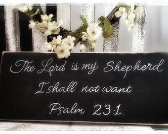 Primitive The Lord is my Shepherd Wooden Sign