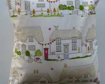 Row of Houses Cotton Cushion Cover