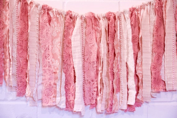 Shabby Chic Banner - Pink Garland - Nursery Decor - Wedding Banner - Bridal Shower Garland - Baby Shower Garland