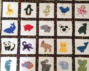 Embroidered Baby Quilt/Wall Hanging