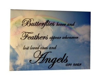 Butterfly & Angel poem, Framed Canvas Wall Art, ready to hang