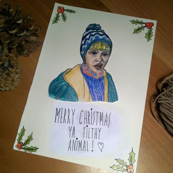 Home Alone Christmas Card Hand-Drawn Merry By