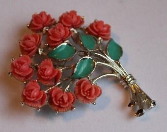 Coral Flower Bouquet Brooch, JJ  Jonette, Celluloid Coral Roses, Green Enamel Leaves