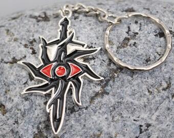 Dragonage Inquisition Keyring Keychain in white metal