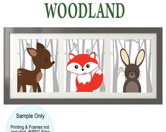 Woodland Creatures - Woodland Nursery - Forest Animals - Forest Nursery - Woodland Theme - Woodland Decor - Forest Theme - 11x14 Printables