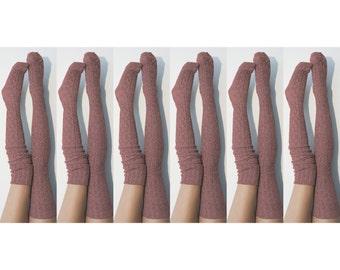 6pk Thigh High Sock, Long Knit Womens Boot Sock -Marsala Bridesmaid Gifts