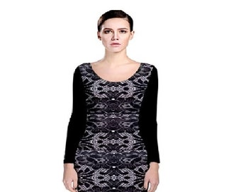 Black Long Sleeve Front Lace Back Black Bodycon Dress Plus Size Bodycon Dress Regular Size Front Lace Back Black Dress Two Different Color