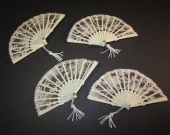 "4 ivory mini lace fans, 3""x5.75"", for weddings,dolls, or crafts"