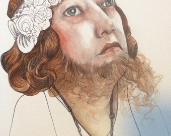 ORIGINAL sketchbook study-Bearded Woman