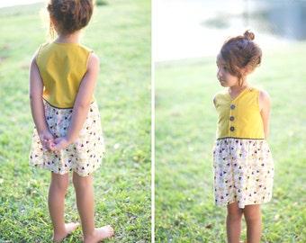 Summer Dress Mustard & triangles