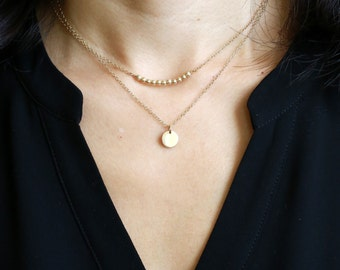 Gold Disc Necklace Dainty Gold Necklace, Tiny Gold Disc Necklace Gold Jewelry, 1 or 2 Gold Discs on Gold Chain Gold Circles Necklace on Gold