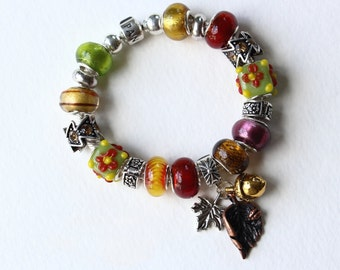 Genuine Pandora Bracelet ~ FABULOUS FALL ~ with Natural Color European Style Beads and Leaf Charms