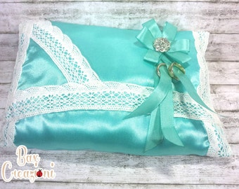 Teal Satin Pillow Ring
