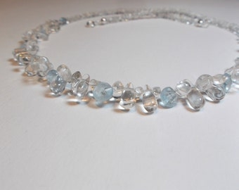 Rock crystal aquamarine droplets Collier