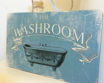 Washroom, WC, Toilet vintage style Wooden Hanging Plaque Gift 'The Washroom'