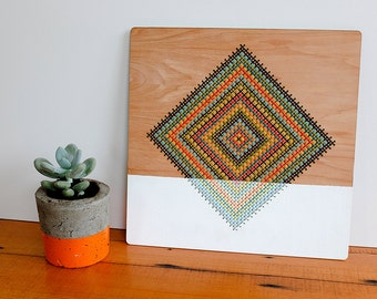 "Wall Hanging, Modern Geometric Cross Stitch, Color Blocked Diamond Pattern, 12"" x 12"""