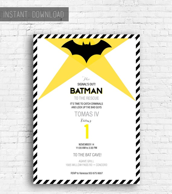 batman birthday invitation printable instant download