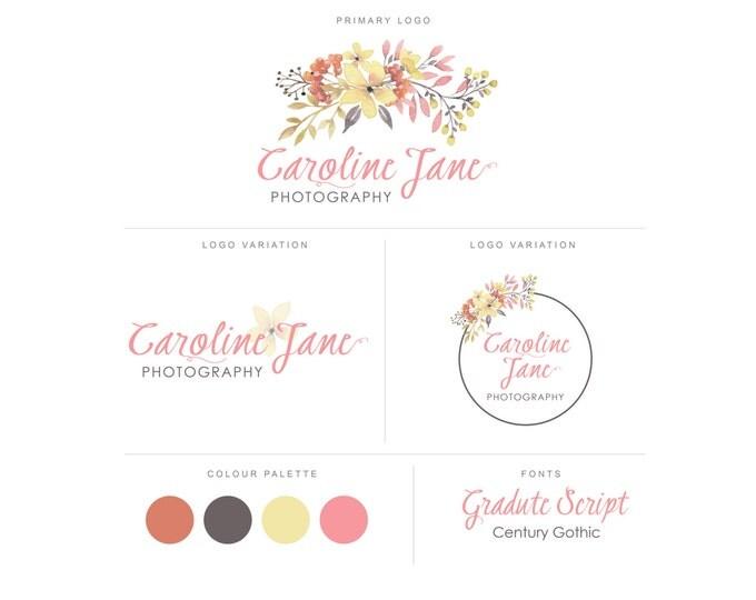 Branding Package - Photography Logo and Watermark - Watercolor Floral - Script - Logo Design - Watermark - Premade Marketing Kit - BPL09