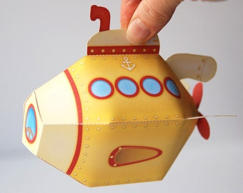 Yellow Submarine printable, Yellow favor box, Yellow papertoy