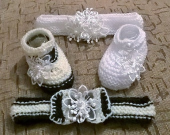baby knitting patterns January shoes and hairband prem to 0-3mths