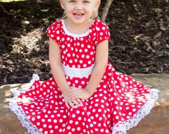 Minnie Mouse dress, Red and white polka dot , infant, baby, toddler, little girl costume, birthday outfit, Halloween costume