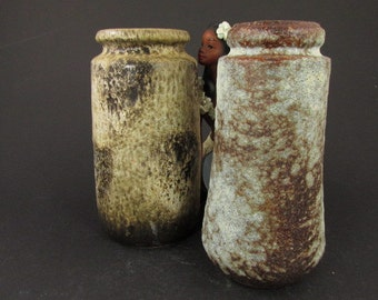 Vintage ceramic set of two vases / Scheurich / light blue, beige and brown / crusty glaze | West German Pottery | 60s