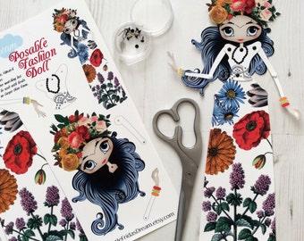 "Little Frida's Dream Articulated Paper Doll 12"" Tall (Flora Botanica Design 1)"